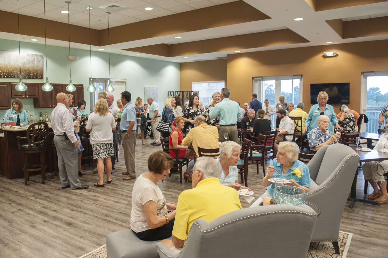 Seniors enjoying social happy hour activities